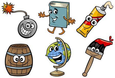 Cartoon Illustration of Funny Objects Characters Clip Art Set Illustration