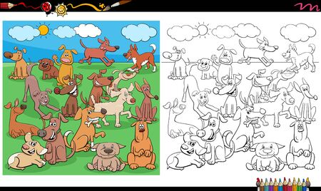 Cartoon Illustration of Happy Puppies and Dogs Animal Characters Large Group in the Park Coloring Book Page