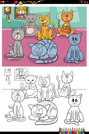 Cartoon Illustration of Funny Cats Pets Animal Characters Group at Home Coloring Book Page