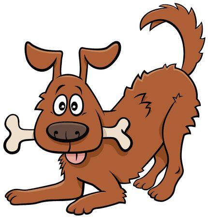 Cartoon Illustration of Happy Dog Comic Animal Character with Bone
