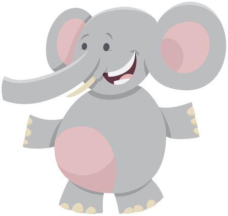 Cartoon Illustration of Happy African Elephant Wild Animal Comic Character