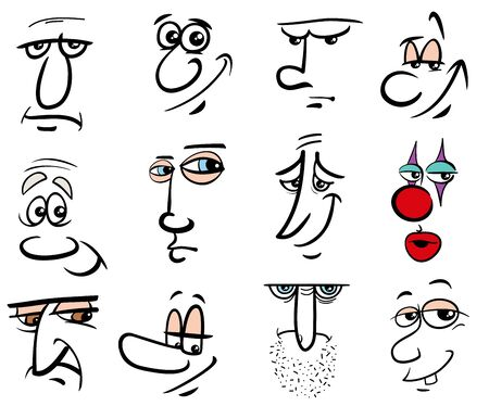 Cartoon Human Faces or People Emotions Design Elements Graphic Set