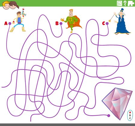 Cartoon Illustration of Lines Maze Puzzle Game with Fantasy Characters and Gem