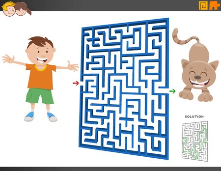 Cartoon Illustration of Educational Maze Puzzle Game for Children with Boy and Cat or Kitten Animal Character Vectores