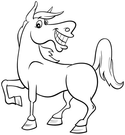 Black and White Cartoon Illustration of Happy Horse Farm Comic Animal Character Coloring Book Page