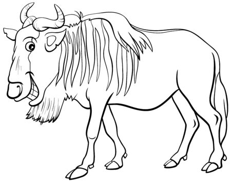Black and White Cartoon Illustration of Gnu Antelope or Blue Wildebeest African Wild Animal Character Coloring Book Page
