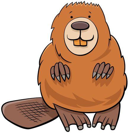 Cartoon Illustration of Funny Beaver Wild Animal Character