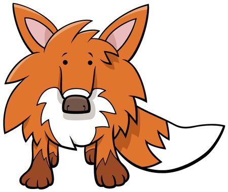 Cartoon Illustration of Funny Red Fox Wild Animal Character