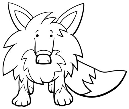 Black and White Cartoon Illustration of Funny Fox Wild Animal Character Coloring Book Page