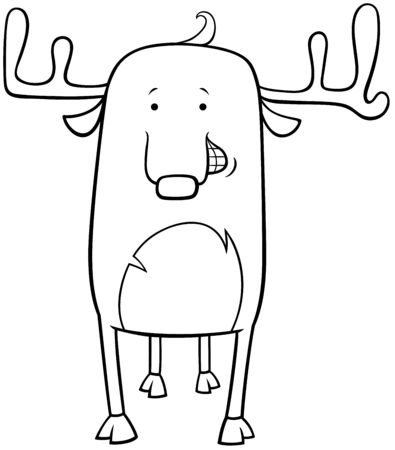 Black and White Cartoon Illustration of Funny Deer Wild Animal Character Coloring Book Page