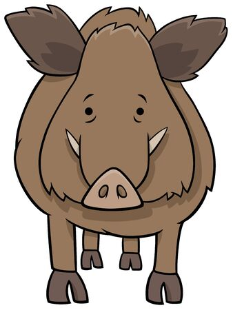 Cartoon Illustration of Funny Boar Wild Animal Comic Character Ilustrace