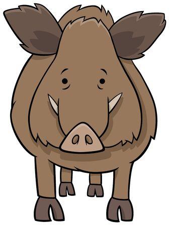 Cartoon Illustration of Funny Boar Wild Animal Comic Character Illustration