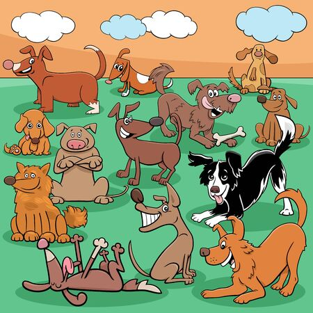 Cartoon Illustration of Dogs and Puppies Funny Animal Characters Group