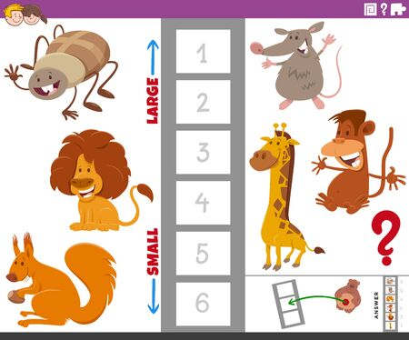 Cartoon Illustration of Educational Game of Finding the Largest and the Smallest Aniaml Species with Comic Characters for Children Illustration