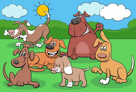 Cartoon Illustration of Funny Dogs and Puppies Animal Characters Group