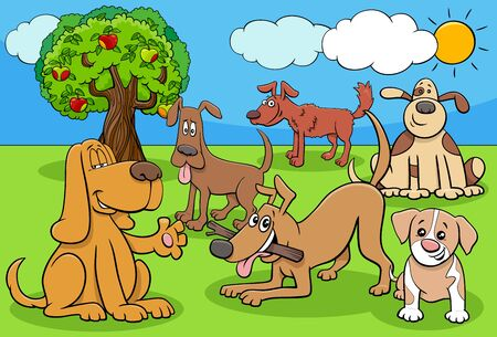 Cartoon Illustration of Dogs and Puppies Animal Characters Group Çizim