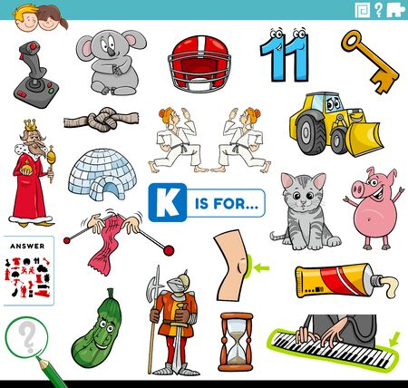 Cartoon Illustration of Finding Picture Starting with Letter I Educational Task Worksheet for Children with Objects and Characters
