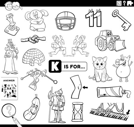 Black and White Cartoon Illustration of Finding Picture Starting with Letter I Educational Task Worksheet for Children with Objects and Characters Coloring Book Page Vektorgrafik