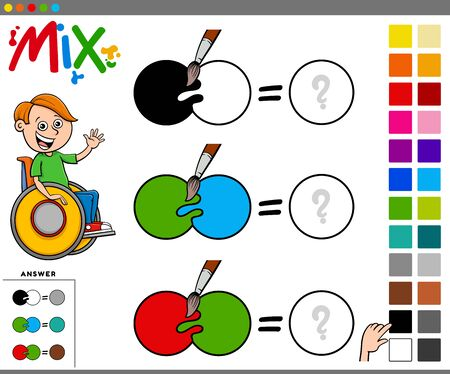 Cartoon Illustration of Mixing Colors Educational Task for Children