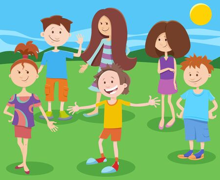 Cartoon Illustration of Funny Elementary or Teen Age Children Characters Group in the Park