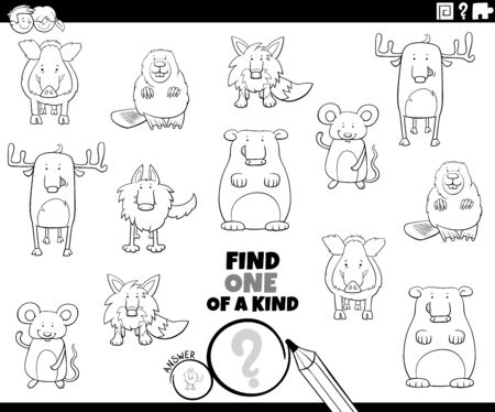 Black and White Cartoon Illustration of Find One of a Kind Picture Educational Game with Cute Wild Animal Characters Coloring Book Page