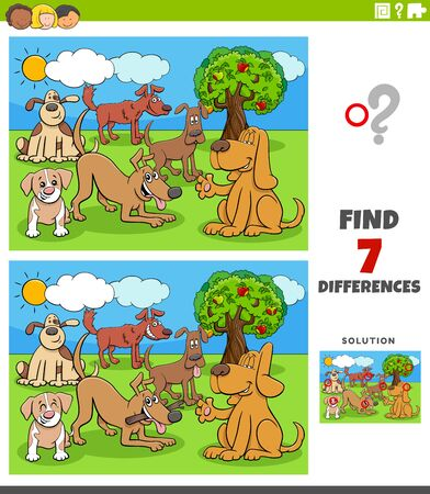 Cartoon Illustration of Finding Differences Between Pictures Educational Task for Children with Dog Characters Group