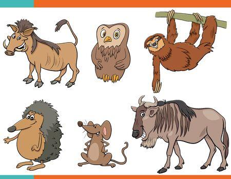 Cartoon Illustration of Funny Wild Animals Comic Characters Set Иллюстрация