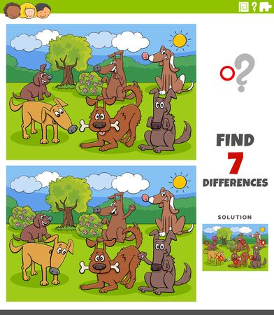 Cartoon Illustration of Finding Differences Between Pictures Educational Task for Kids with Dogs and Puppies Group Vettoriali