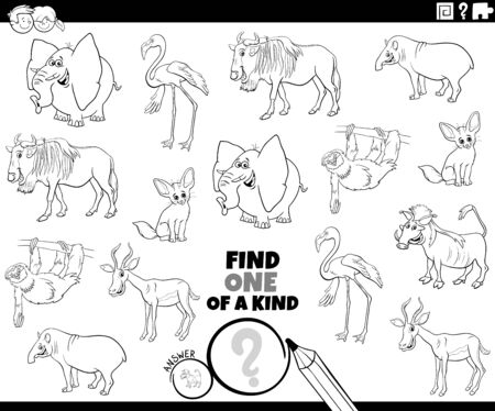 Black and White Cartoon Illustration of Find One of a Kind Picture Educational Game with Comic Wild Animal Characters Coloring Book Page Illustration