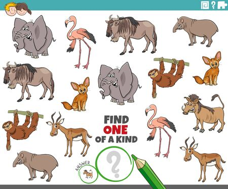 Cartoon Illustration of Find One of a Kind Picture Educational Game with Comic Wild Animal Characters