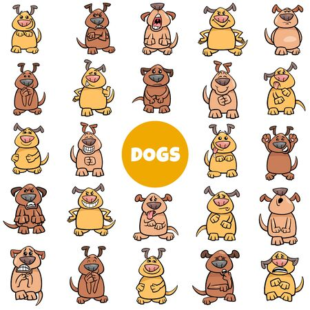 Cartoon Illustration of Dog Characters Emotions and Moods Big Set Illustration