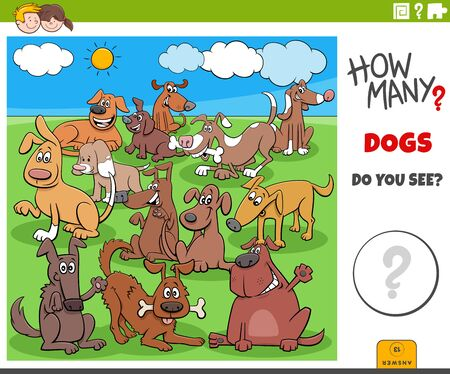 Illustration of Educational Counting Game for Children with Cartoon Funny Dogs Animal Characters Big Group