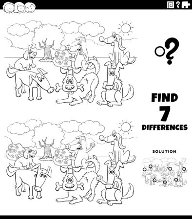 Black and White Cartoon Illustration of Finding Differences Between Pictures Educational Task for Kids with Dogs and Puppies Group Coloring Book Page