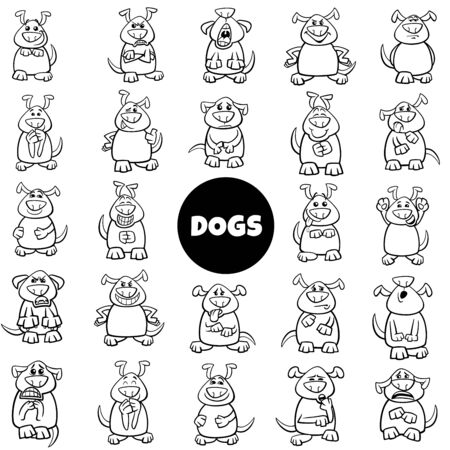 Black and White Cartoon Illustration of Dog Characters Emotions and Moods Big Set