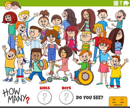 Illustration of Educational Counting Game for Children with Cartoon Girls and Boys Characters Crowd