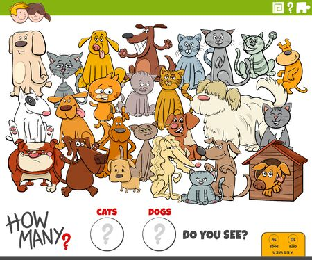 Illustration of Educational Counting Game for Children with Cartoon Funny Dogs and Cats Animal Characters Group