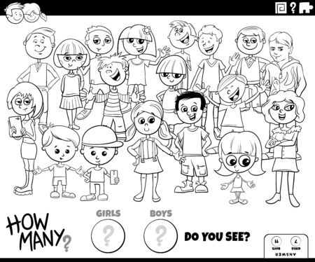 Black and White Illustration of Educational Counting Game for Children with Cartoon Girls and Boys Characters Group Coloring Book Page