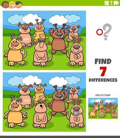 Cartoon Illustration of Finding Differences Between Pictures Educational Task for Children with Comic Dogs Group Illustration