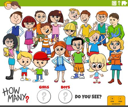 Illustration of Educational Counting Game for Children with Cartoon Girls and Boys Characters Group