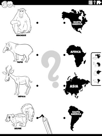Black and White Cartoon Illustration of Educational Matching Game for Kids with Animal Species Characters and Continent Shapes Coloring Book Page 向量圖像