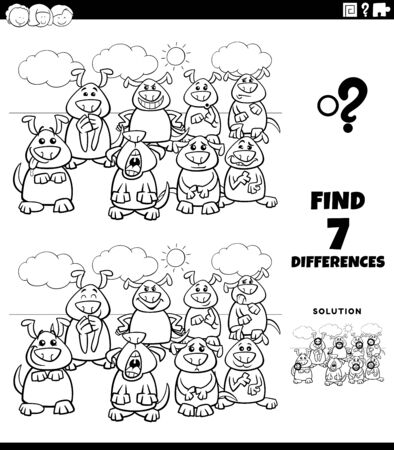 Black and White Cartoon Illustration of Finding Differences Between Pictures Educational Game for Kids with Comic Dogs Group Coloring Book Page