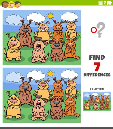 Cartoon Illustration of Finding Differences Between Pictures Educational Game for Kids with Comic Dogs Group