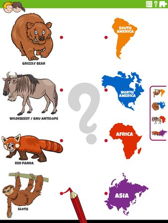 Cartoon Illustration of Educational Matching Task for Children with Animal Species Characters and Continent Shapes Illustration
