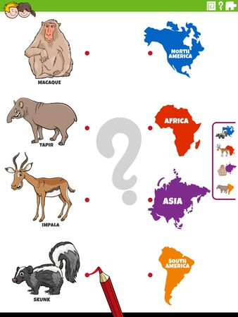 Cartoon Illustration of Educational Matching Game for Kids with Animal Species Characters and Continent Shapes
