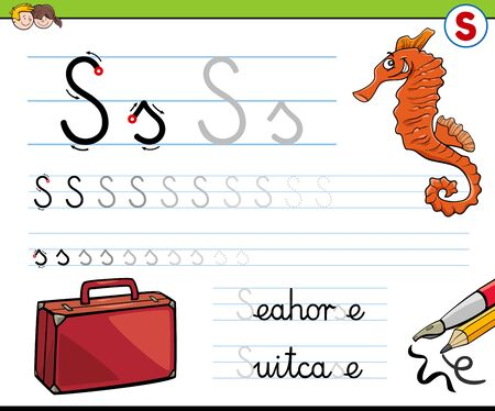 Cartoon Illustration of Writing Skills Practice Worksheet with Letter S for Preschool and Elementary Age Children