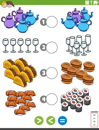 Cartoon Illustration of Educational Mathematical Puzzle Task of Greater Than, Less Than or Equal to for Children with Food Objests