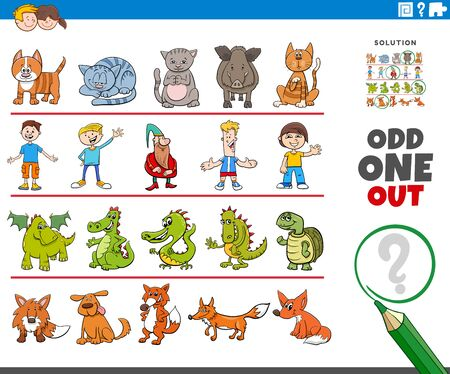 Cartoon Illustration of Odd One Oute Picture in a Row Educational Game for Elementary Age or Preschool Children with Funny Characters