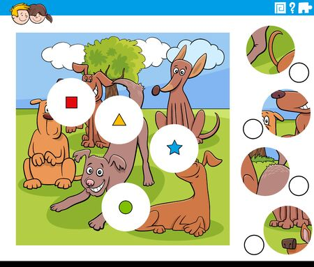 Cartoon Illustration of Educational Match the Pieces Jigsaw Puzzle Game for Children with Funny Dogs Animal Characters Group