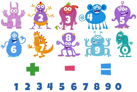 Cartoon Illustration of Numbers Set from One to Nine with Fantasy Monster Characters Illusztráció