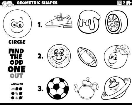 Black and White Cartoon Illustration of Circle Geometric Shape Educational Game for Children Coloring Book Page Vektoros illusztráció